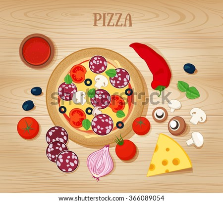 Pizza and Ingredients on  Wooden Background. Raster JPG version  - stock photo