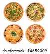 Pizza and italian kitchen. Studio. Isolated on white background. - stock photo