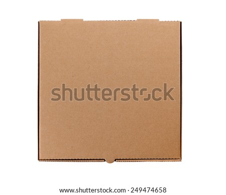 Pizza box, brown, top view. - stock photo