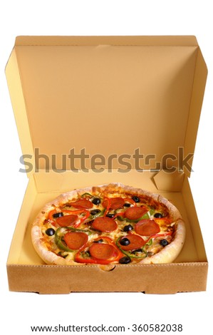 Pizza box open, front view, vertical - stock photo