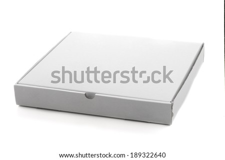 Pizza box paperboard isolated on white background. - stock photo