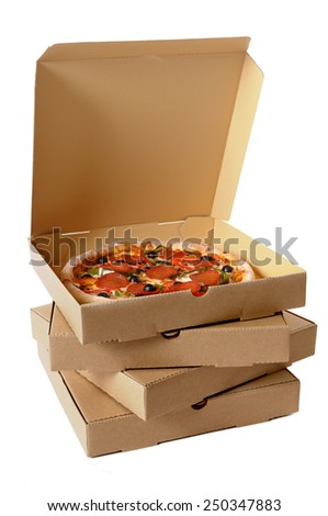 Pizza box : stack, brown, isolated.