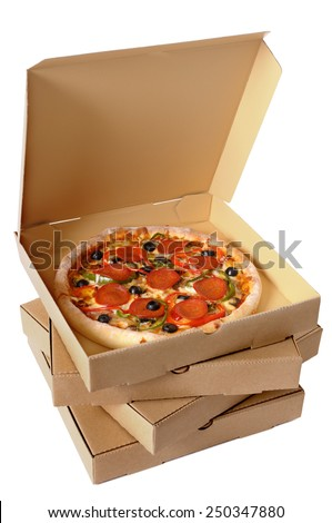 Pizza box : stack, brown, pepperoni, isolated.