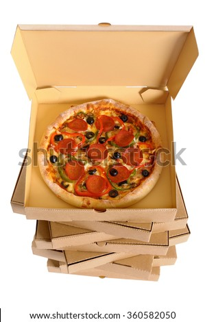 Pizza box top view, tall stack, pizza inside, isolated, vertical - stock photo