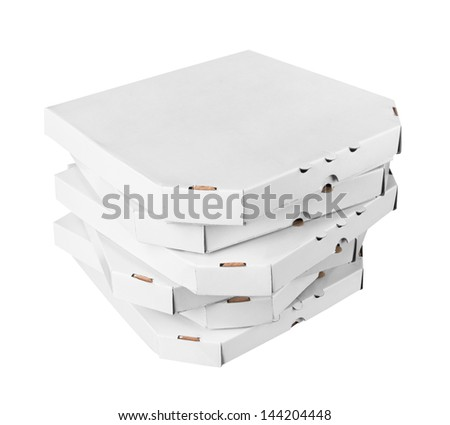 Pizza boxes, isolated on white background - stock photo