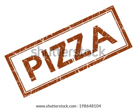 Pizza brown square grungy stamp isolated on white background - stock photo