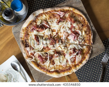 Pizza close up, top view. - stock photo