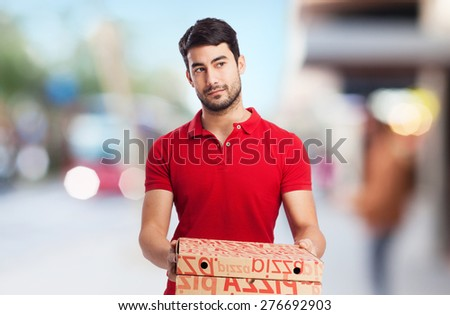 pizza dealer with pizza boxes