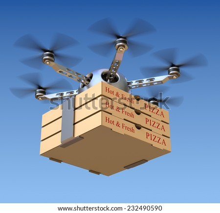 Pizza delivery in the drone - stock photo