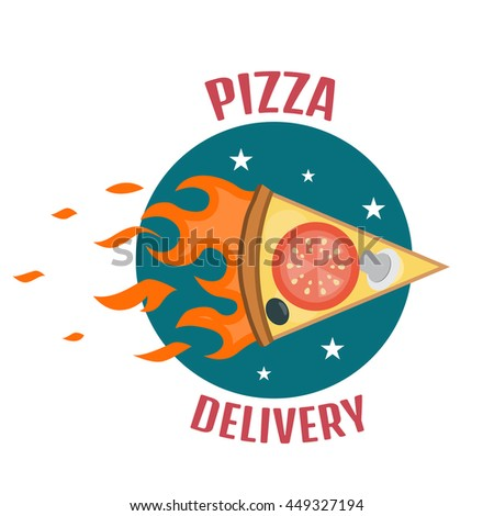 Pizza delivery logo. Fast delivery logo one - stock photo