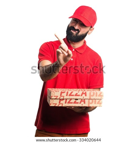 Pizza delivery man doing NO gesture - stock photo