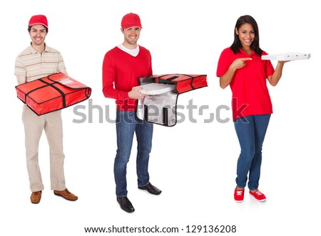 Pizza delivery people. Isolated on white background - stock photo