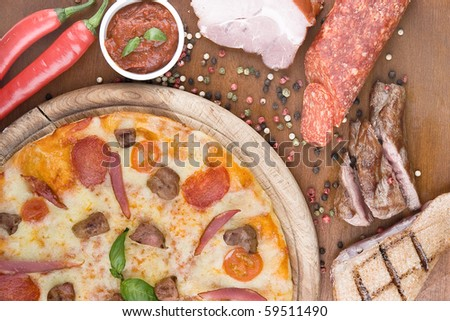 Pizza Duck with mushrooms - stock photo