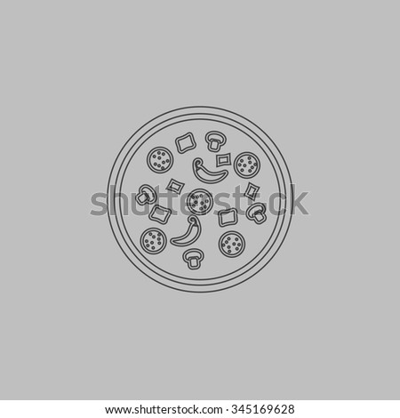 Pizza. Flat outline icon on grey background