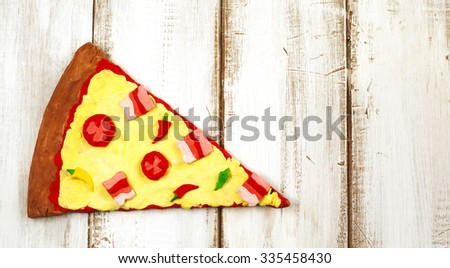 Pizza from clay dough - stock photo