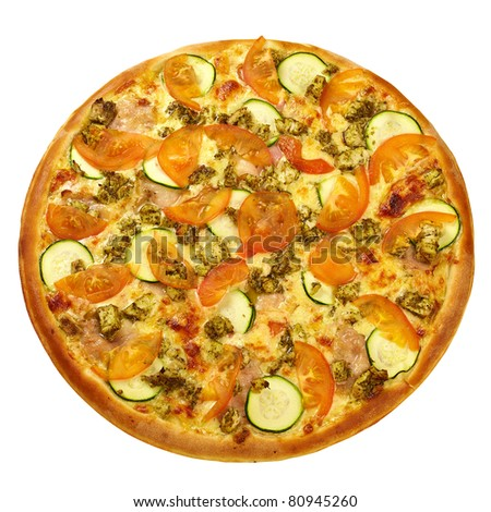 Pizza from the top - chicken, zucchini