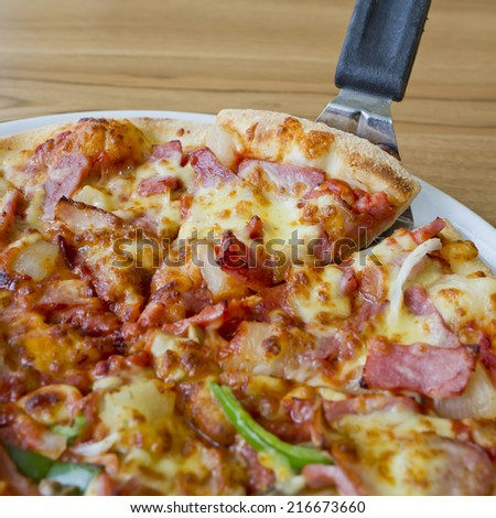 Pizza ham and mushroom - stock photo