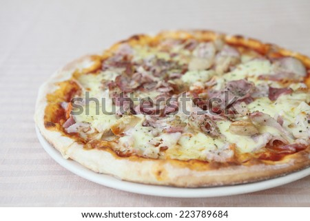 Pizza ham and sausage