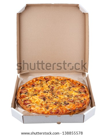 Pizza in a box isolated on white background