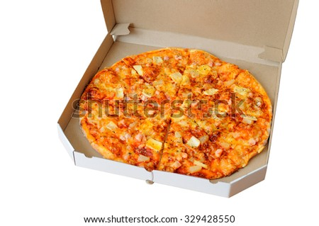 Pizza in a box on a white background - stock photo