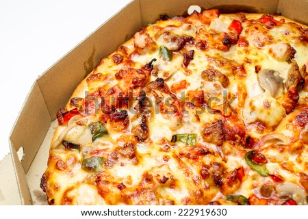 Pizza in box isolated. - stock photo