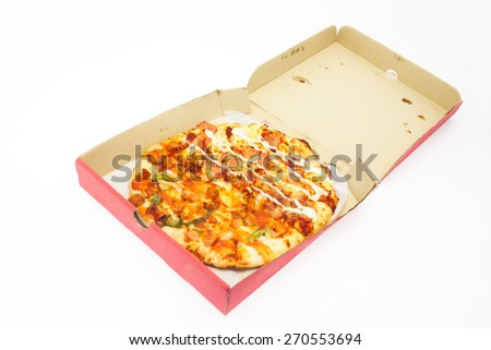 Pizza in box isolated background