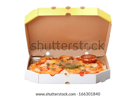 pizza in box isolated on white background - stock photo