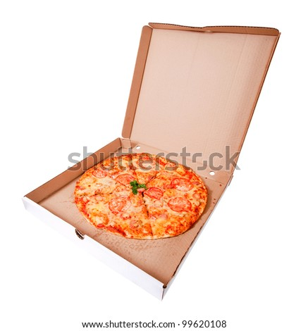 pizza in box. Isolated over white background - stock photo