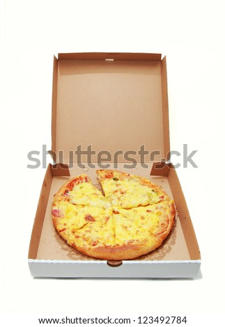 Pizza in delivery box isolated on white - stock photo
