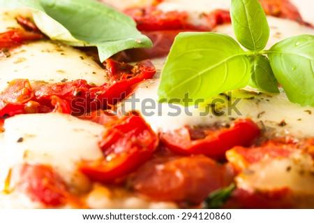Pizza in Naples with tomato, mozzarella and basil. - stock photo