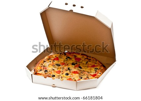 Pizza in open cardboard box isolated on white background