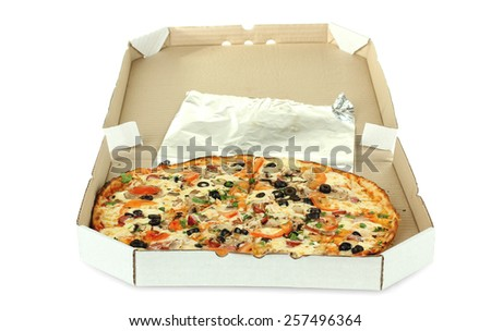 pizza in package isolated - stock photo