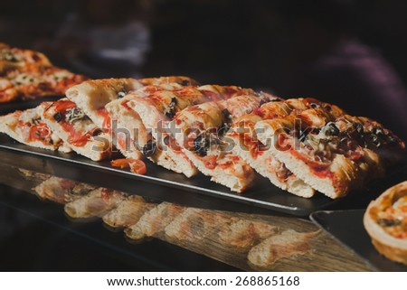 pizza in street fast food cafe - stock photo