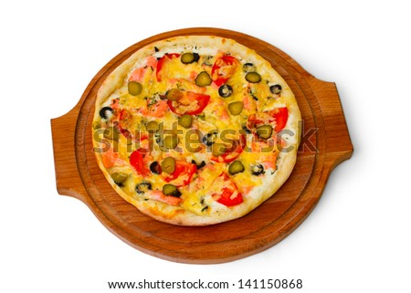 pizza isolated white cucumber cheese a food italian tomato meal fast dinner baked crust
