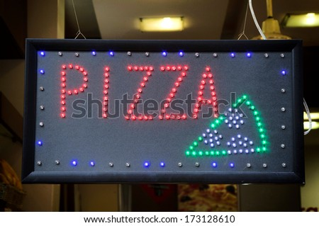 Pizza light advertise - stock photo