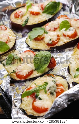 Pizza made out of eggplant - stock photo