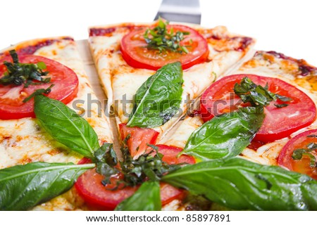 pizza margarita isolated on the white background - stock photo