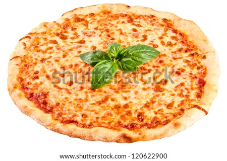 Pizza Margarita isolated on white background - stock photo