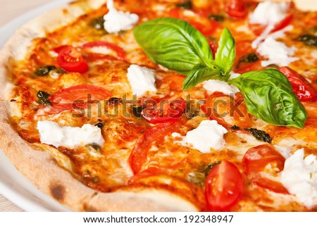 Pizza Margarita with tomatoes, basil and cheese
