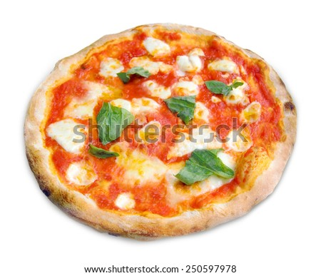 Pizza Margherita with mozzarella, tomatoes and basil isolated on white background. - stock photo