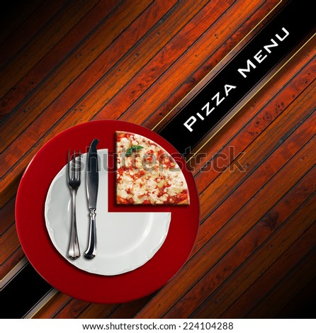 Pizza Menu Design / Pizzeria menu with white plate on red underplate with cutlery and slice of pizza, on wooden background with diagonal black band - stock photo