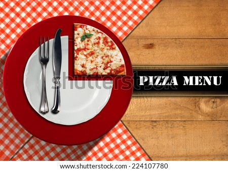 Pizza Menu Design / Pizzeria menu with white plate on red underplate with cutlery and slice of pizza, on wooden background with tablecloth and horizontal black band - stock photo