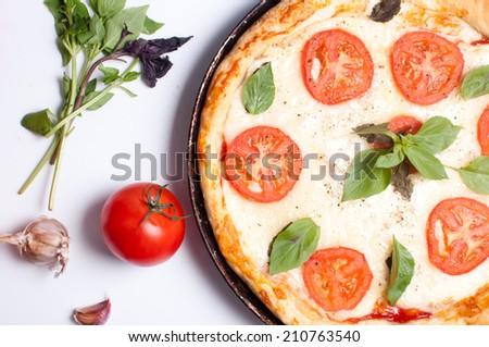 pizza mozzarella - stock photo