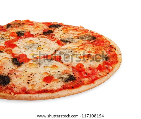 Pizza mozzarella isolated on white background