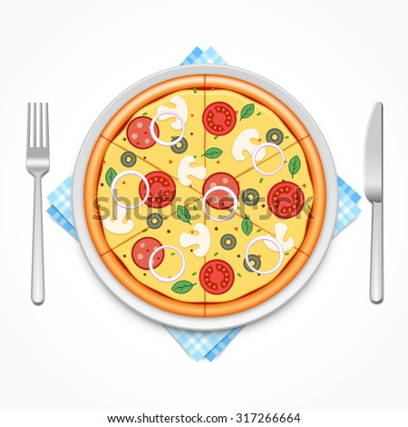Pizza on a plate with fork and knife - stock photo