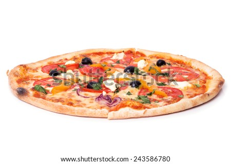 Pizza on a white background - stock photo