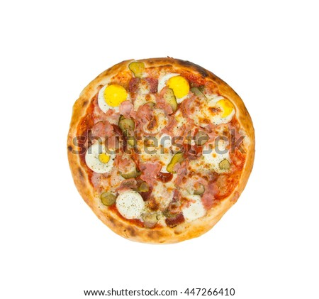 Pizza on a white background with eggs, ham, salami, cheese, pickles and spices.