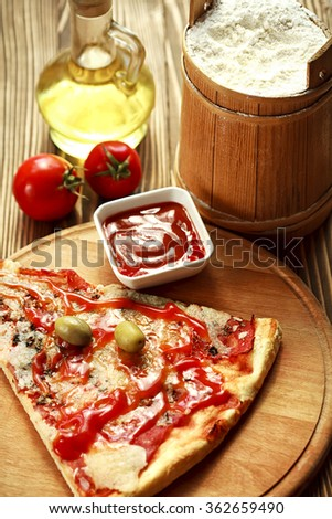 pizza on table-italian food - stock photo