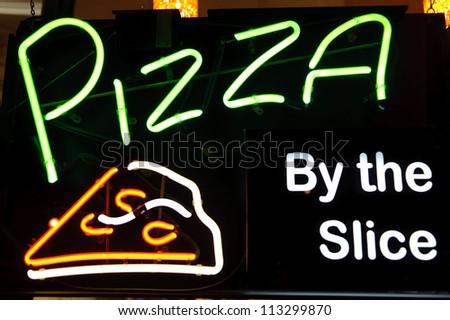 Pizza Peperoni Neon Light Sign - stock photo