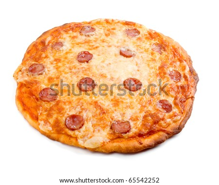 Pizza Pepperoni .Italian kitchen.on white background